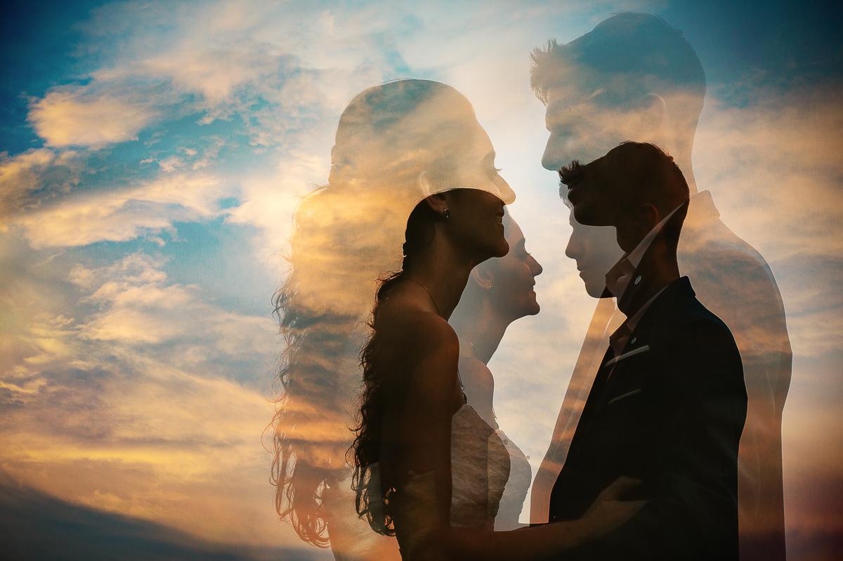 Tropical wedding, fotografo matrimonio Torino,golden Hour, sposi al tramonto, doppia esposizione