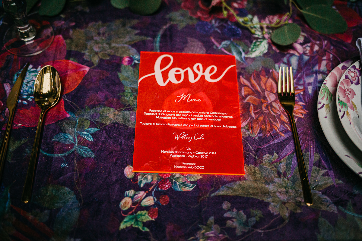 matrimonio a Torino al The Number Six di Via Alfieri 6, menu e partecipazioni in plexiglass